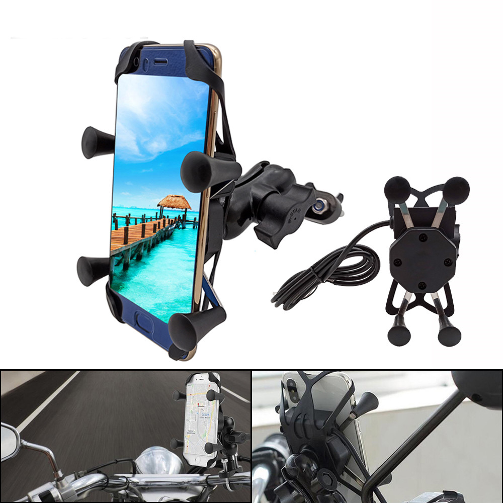 Universal <font><b>Motorcycle</b></font> Mobile Phone Holder With USB Fast Charger Switch For <font><b>Honda</b></font> cbr 1100xx <font><b>1100</b></font> xx 929 x11 VTX1300 vtx 1300 image