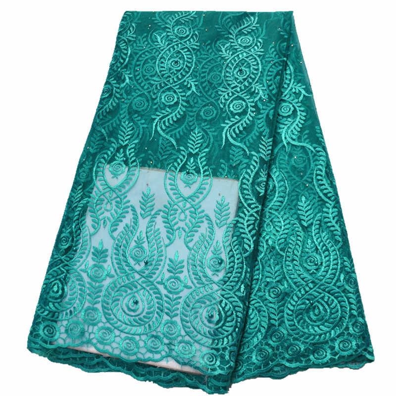 5yards nuovo viola tessuto di pizzo tessuto del merletto nigeriano 2019 di alta qualità africano del merletto di tulle del merletto con le pietre per le donne vestito