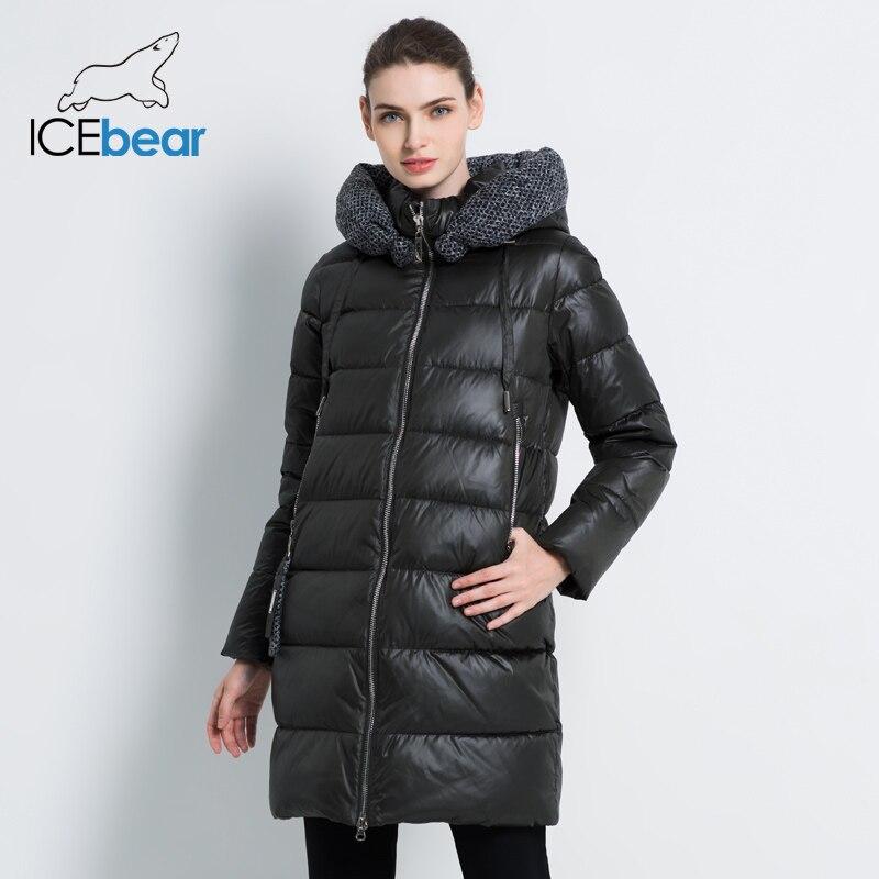 ICEbear 2019 nouvelles femmes veste d'hiver manteau mince hiver matelassé manteau Long Style capuche mince Parkas épaissir vêtements d'extérieur GWD19600I