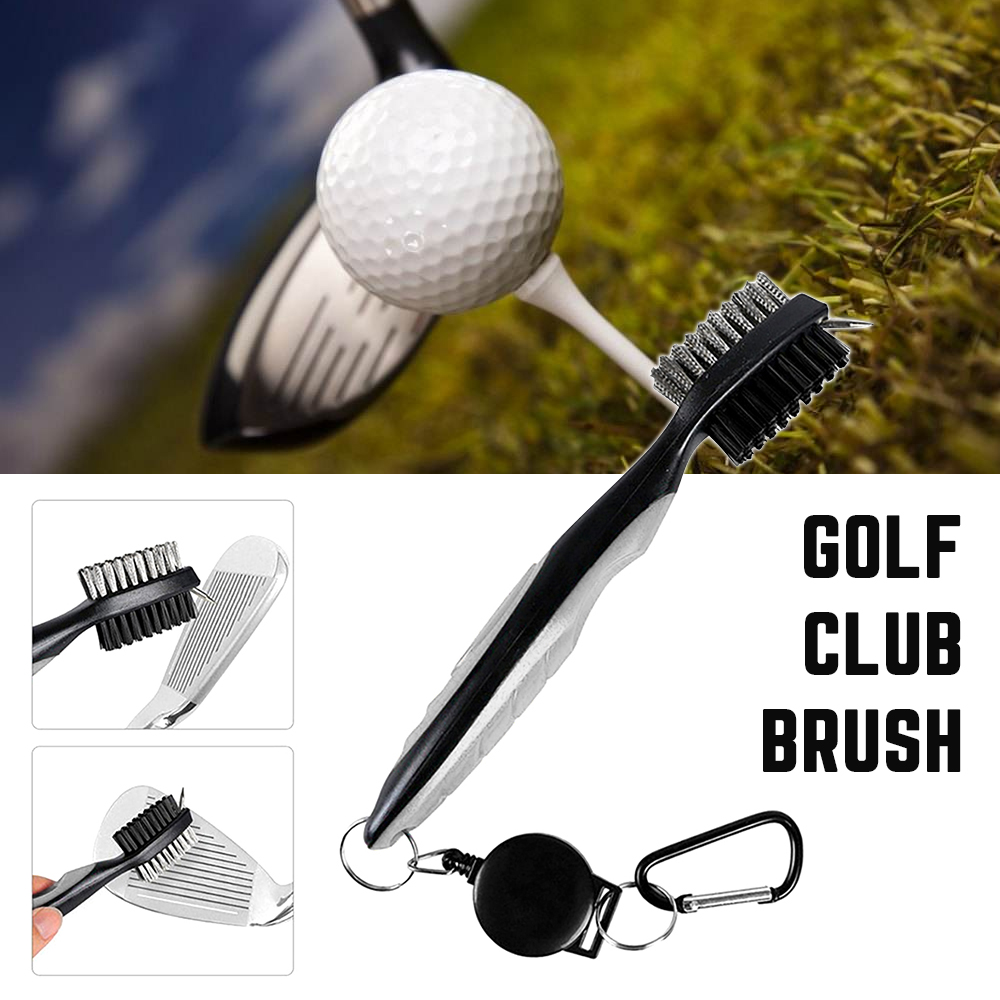 Golf Club Cleaning Brush Double-side With Keychain Golf Putter Wedge Ball Groove Cleaner Kit Golf Cleaning Tool Accessories