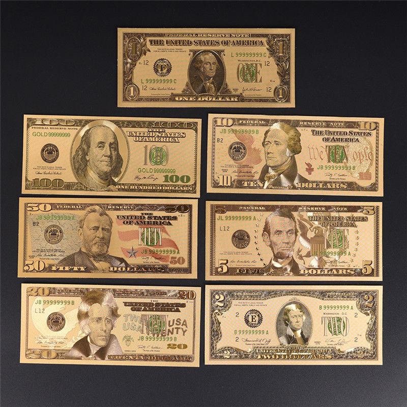7 adet/grup altın kaplama abd doları sahte kağıt para banknot el sanatları koleksiyonu için ev dekor