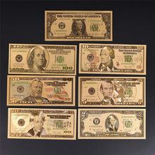 7 шт./лот Позолоченные доллары США, поддельные бумажные банкноты, поделки для коллекции, домашний декор