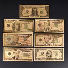 7 unids/lote chapado en oro dólar papel falso dinero billetes manualidades para colección inicio Decoración