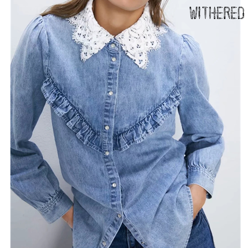 Withered England High Street Lace Splicing Ruffles Denim Blusas Mujer De Moda 2019 Kimono Shirt Women Womens Tops Denim Tshirt
