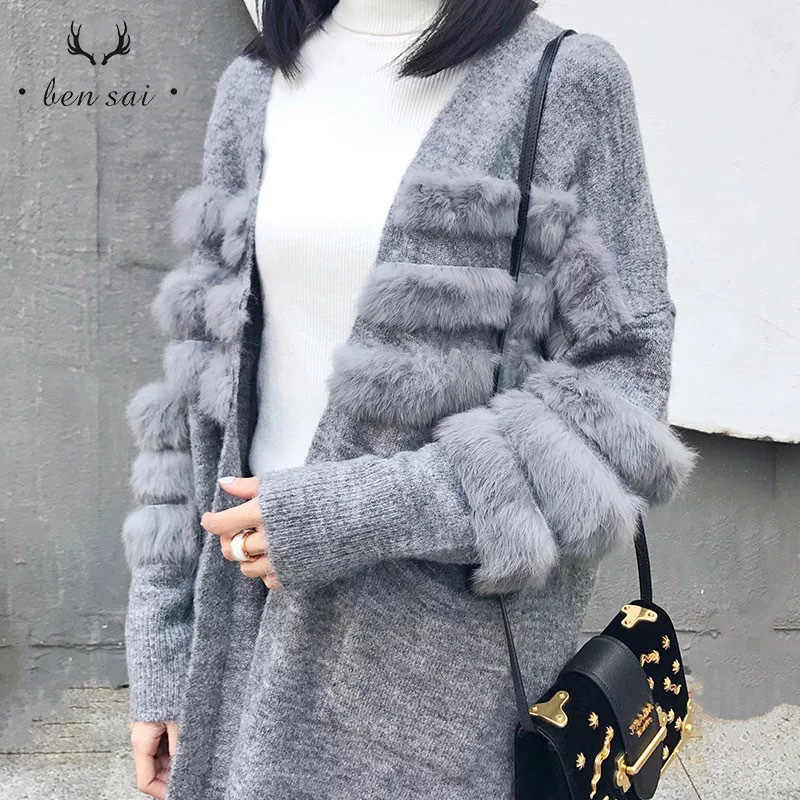 Women Fashion Warm Knitted Cardigan Ladies Casual Fur Long Sleeves Sweater Coat Female High Quality Clothes Autumn Winter New