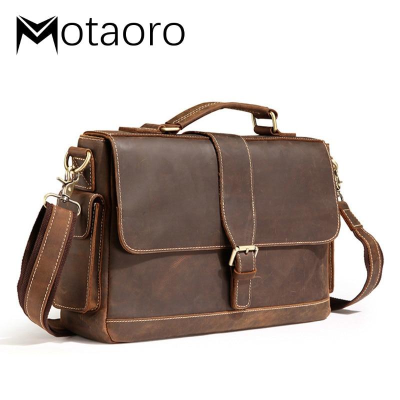 New Men Bag Luxury Handbags Male Crazy Horse Leather Briefcase Messenger Shoulder Bags Office Handbag Bolso Hombre Sacoche Homme