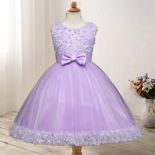 2019 Hot Sale Childrens Dress Sleeveless O-neck Wedding Bow Applique Princess Female Lace Mesh for 3-8 Years
