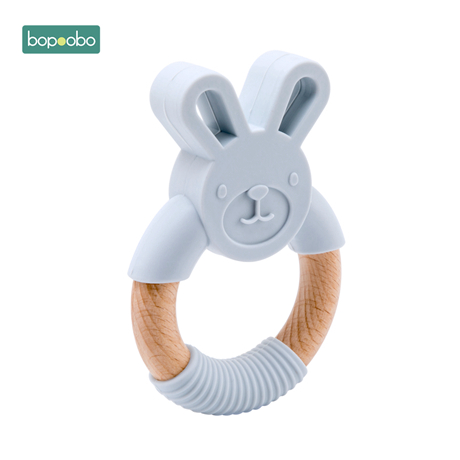 Bopoobo 5pc Food Grade Beech Wooden Teether Ring Baby Training  Chewable Rabbit Teethers Diy Pendant Accessories Baby Products