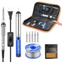 Kit de pistola para soldar de temperatura ajustable, 220V, 60W, herramientas de soldadura, calentador de cerámica, puntas de soldadura, bomba de desoldar