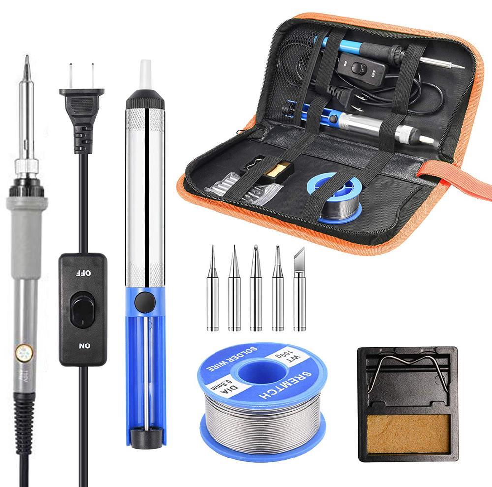 Soldering Iron Kit Adjustable Temperature 220V 60W Solder Welding Tools Ceramic Heater Soldering Tips Desoldering Pump