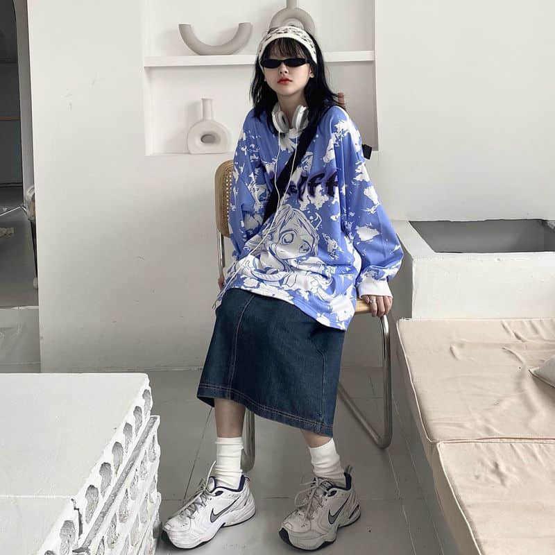 Felpa da uomo e donna Tide con cappuccio stampato a Tokyo Primavera e Autunno Giappone