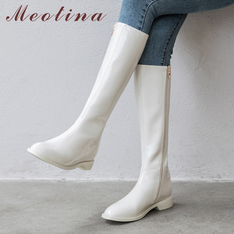 Meotina Winter Riding Boots Women Natural Genuine Leather Zip Flat Knee High Boots Patent Leather Long Shoes Ladies Fall Size 42-in Knee-High Boots from Shoes