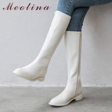 Meotina חורף רכיבה מגפי נשים טבעי אמיתי עור Zip שטוח הברך גבוהה מגפי פטנט עור ארוך נעלי גבירותיי סתיו גודל 42