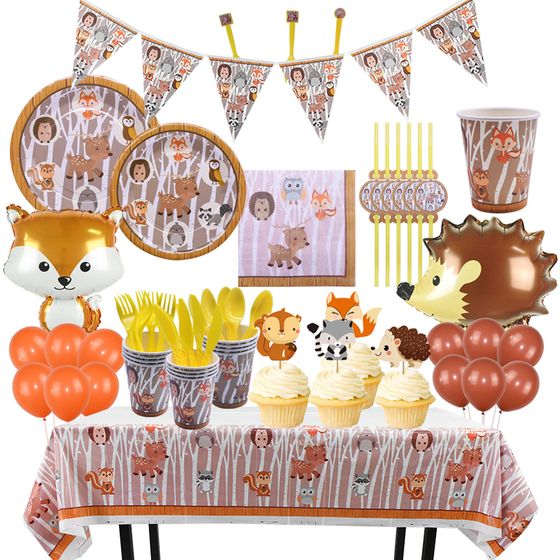 Jungle Theme Party Decor Supply Disposable Tableware Set Forest Animal Fox Hedgehog Balloon Baby Shower Kid Birthday Cake Topper