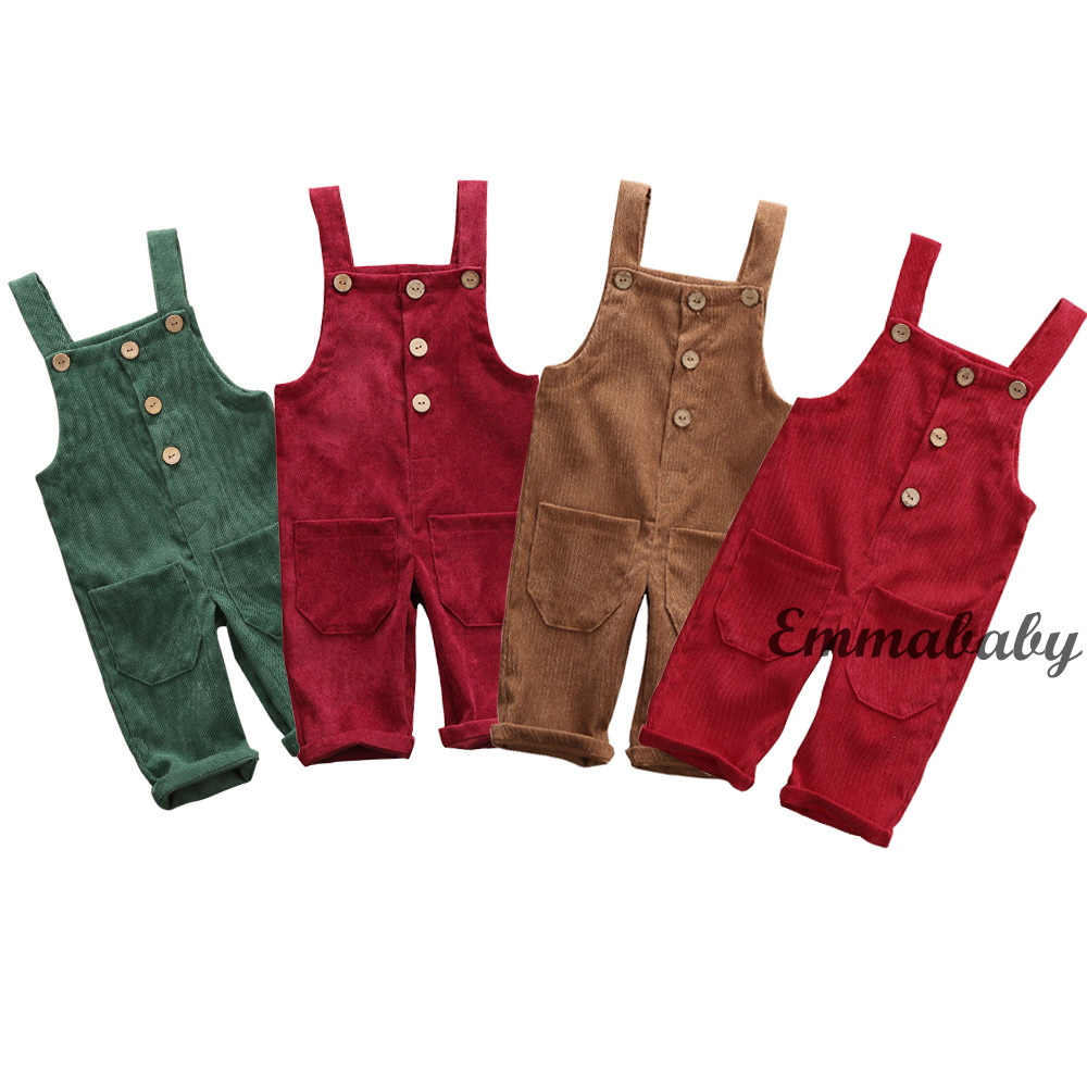 Retro Red Camilife Baby Toddler Boys Girls Corduroy Dungarees Overall Corduroy Dungarees Harem Trousers for 1-4 Years Old Vintage Retro