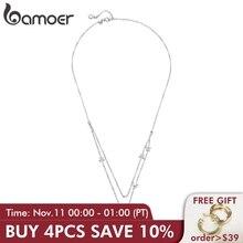 BAMOER collares de cadena con colgantes de doble capa para mujer, de Luna y Estrella de Plata de Ley 925 auténtica, joyería de plata de ley BSN038
