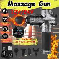 Muscle Massage Gun Deep 3/20 Gears 12V/24V Botton/LED Massage Gun Tissue Massager Therapy Gun Body Muscle Relaxing Relief Pains