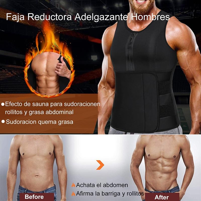 Men Sweat Sauna Vest Waist Trainer Corset Neoprene Body Shaper for Weight Loss Slimming Tank Top Workout Shirt Faja Shapewear
