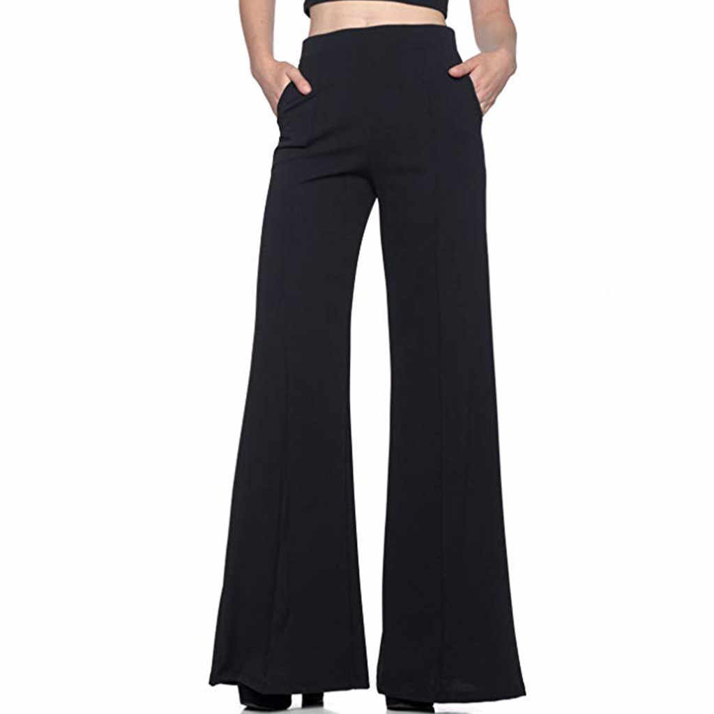 Women's Pants Fashion High Waist Solid Loose Wide Long Trousers Flowing Palazzo Autumn high quality Women Pants 2019 new