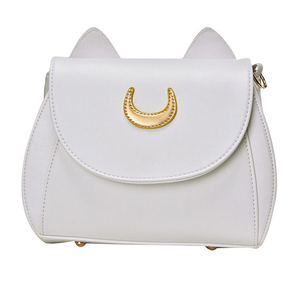 Fashion Women Cat Shape Moon Pattern Solid Color Faux Leather Crossbody Shoulder Bag