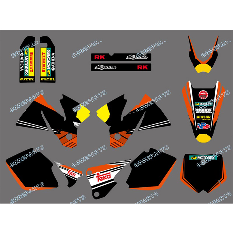 new style rb Logo TEAM & BACKGROUNDS DECALS kit Sticker GRAPHICS FOR <font><b>KTM</b></font> <font><b>SX</b></font> MXC <font><b>125</b></font>/250/380 /400/520 1998 1999 2000 <font><b>2001</b></font> image