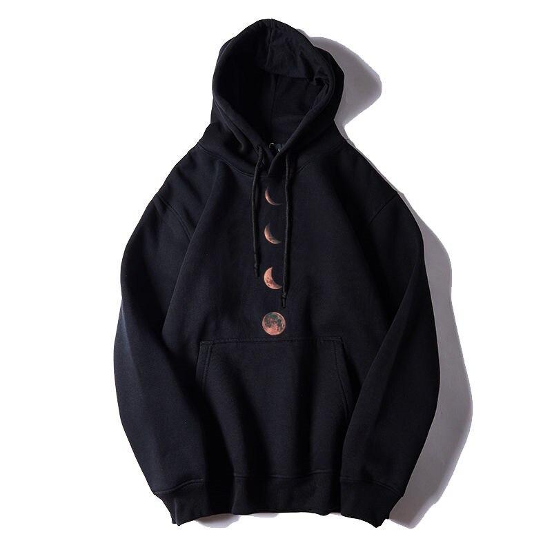 Fashion Loose Hoodies Men Moon Printed High Street Sweatshirts Harajuku Japan Hoodie Streetwear Casual Long Sleeve Tops Male