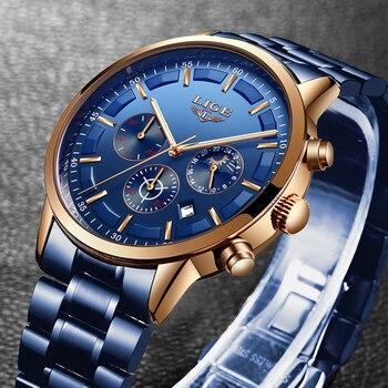 LIGE новые модные мужские s часы лучший бренд класса люкс из нержавеющей стали водонепроницаемый спортивный хронограф кварцевые часы мужские...