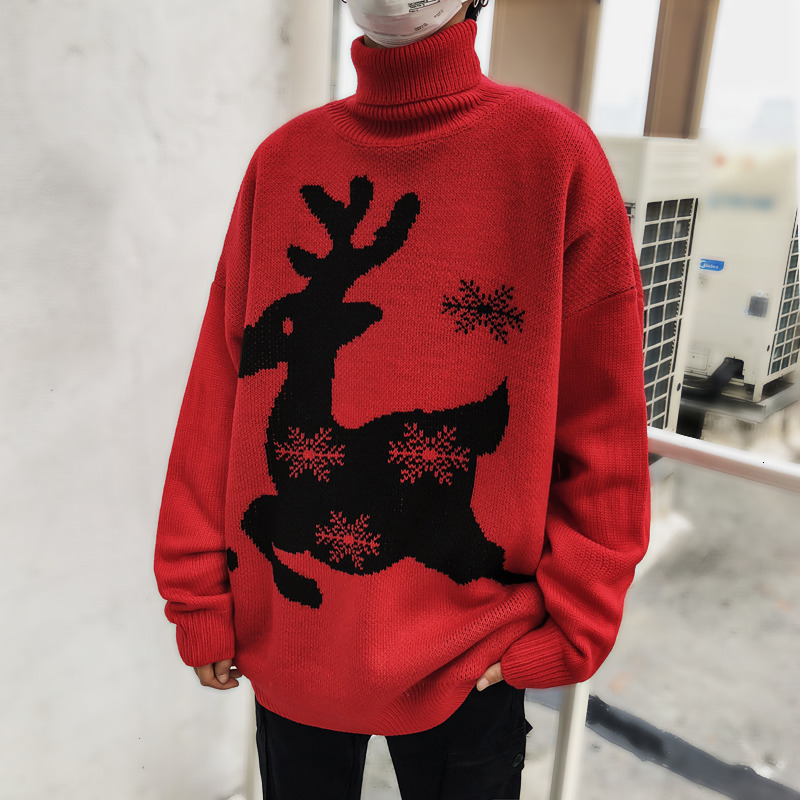 Deer Ugly Christmas Sweater Men Winter 2019 Cotton Christmas Jumper Knitted Pullover Men Sweaters O Neck Long Sleeve Pullovers