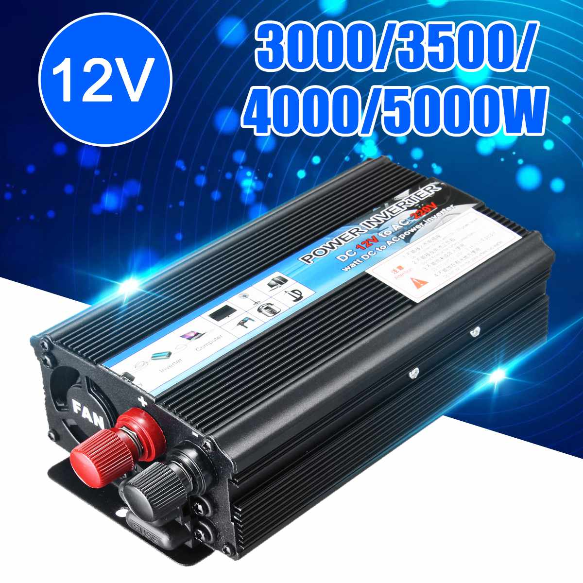 DC 12V to AC 220V Inverter MAX 5000W Watt Portable Car Power USB Inverter Charger Converter Adapter Modified Sine Wave