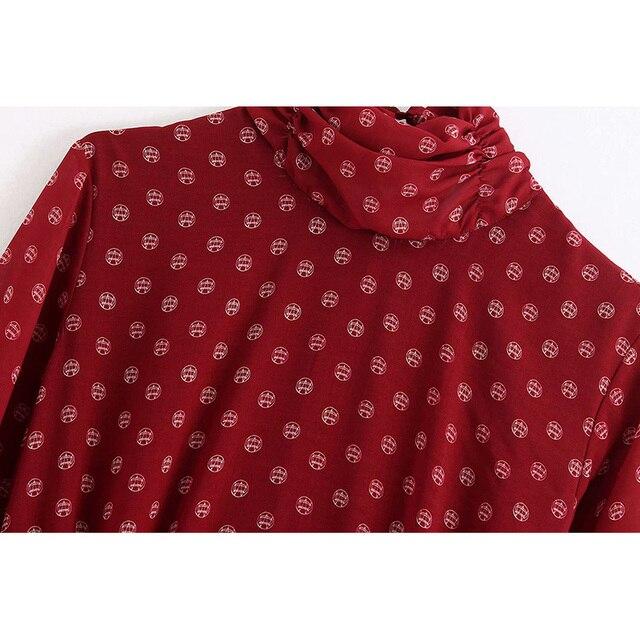 Casual vesitidos red za 2019 a-line high waist women dress print turtleneck midi dress autumn ropa mujer office lady 3