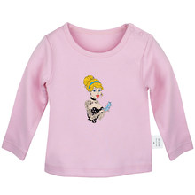 Cute Cartoon Princess Cinderella Silhouette Design Newborn Baby T-shirts Toddler Graphic Solid Color Long Sleeve Tee Tops(China)