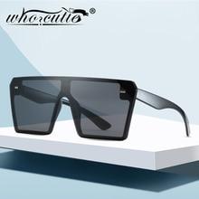 WHO CUTIE 2020 Black Oversized Shield Sunglasses Women Men B