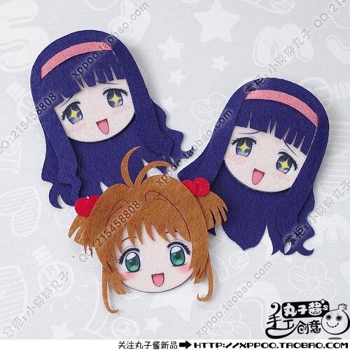 Cute Anime Card Captor SAKURA KINOMOTO Tomoyo CERBERUS Cosplay Badge Nonwoven Fabric Button Brooch Pin Bedge Gifts