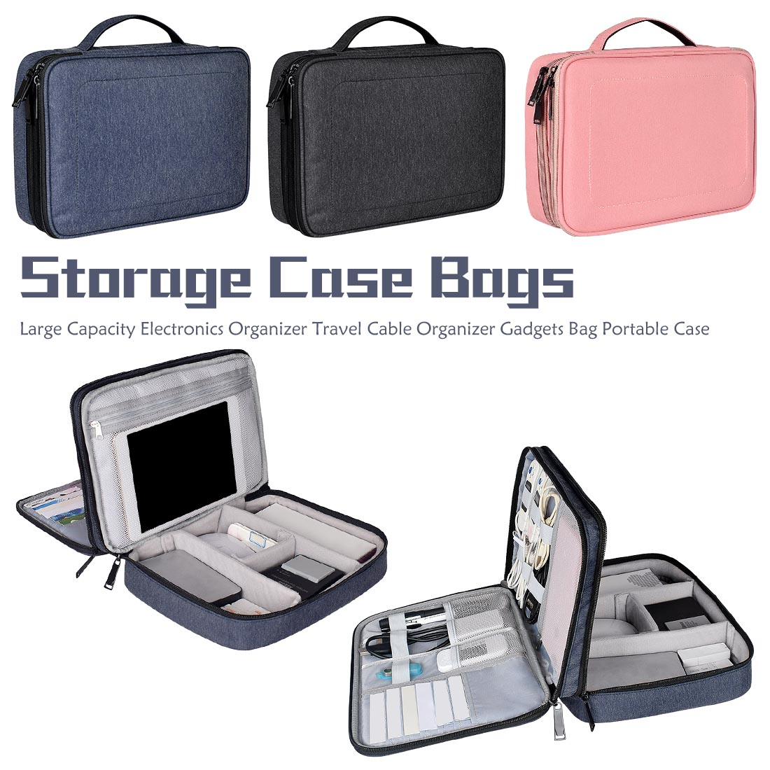 Digital Accessories Storage Bag Large Capacity Electronics Organizer Travel Cable Organizer Gadgets Bag Portable Case