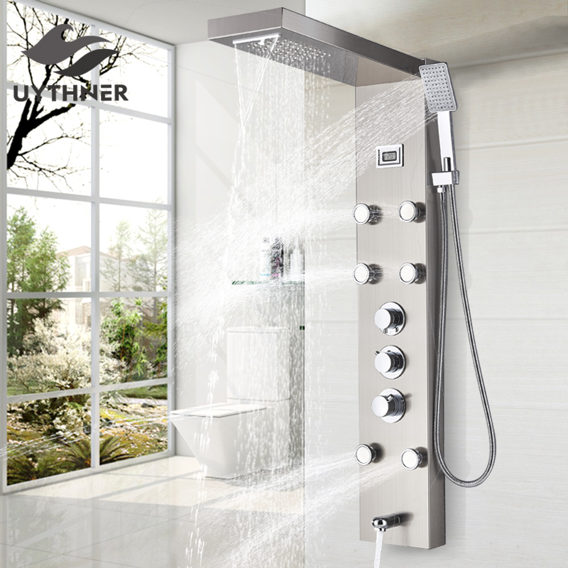 Black/Brushed Nickel Thermostatic Mixer Shower Panel Rainfall Waterfall Massage Jets Shower Column Shower Faucet Shower SetShower Faucets   -