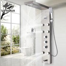 Black/Brushed Nickel Thermostatic Mixer Shower Panel Rainfall Waterfall Massage Jets Shower Column Shower Faucet Shower Set