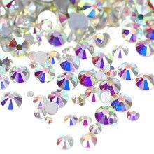 2028 стекло кристалл AB не горячей фиксации стразы Flatback стразы стеклянные стразы блестящие стразы для украшения ногтей B2009
