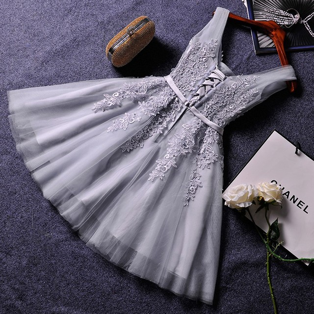 Elegant Pearl Pink Prom Dresses 2020 Sexy Prom Dress Short V Neck Appliques Beading Lace Up Knee-Length Graduation Party Gowns 6