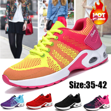 Модные женские легкие кроссовки для бега уличная спортивная обувь удобные дышащие туфли женские кроссовки c воздушными подушками на шнуровке