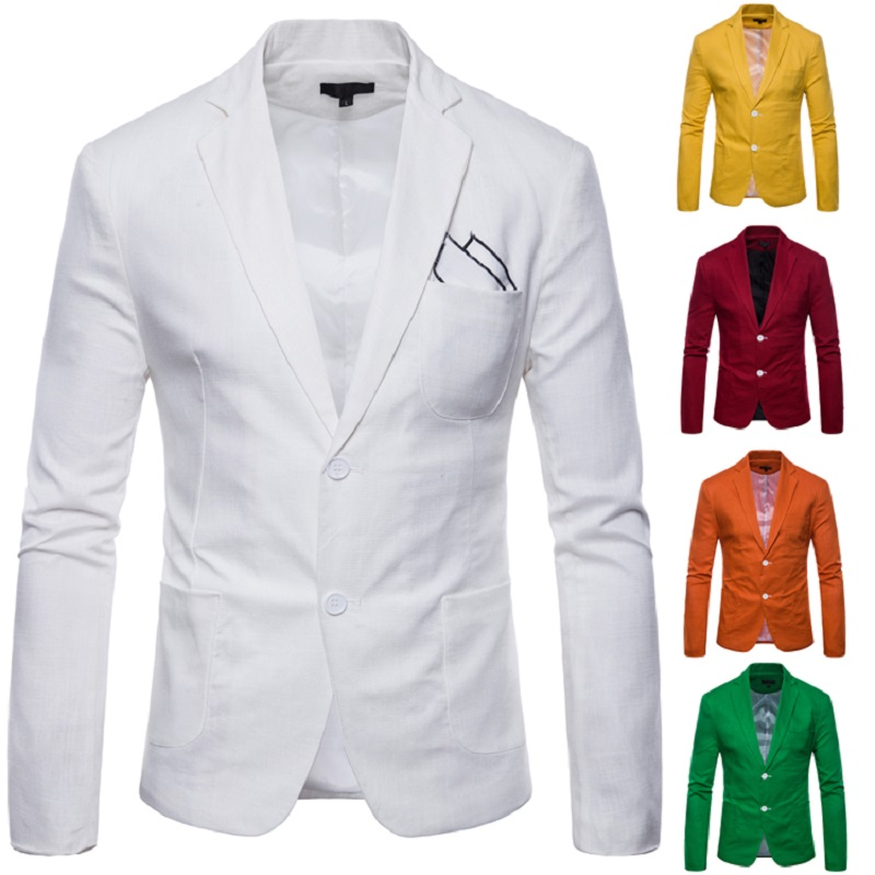 Mens Blazer 2020 New Men's Casual 2 Button Cotton And Linen 9 Color Back Slit  Men Suit Jacket