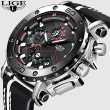 2019 LIGE Mens Watches Top Brand Luxury Quartz Watch Men Casual Leather Military