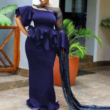 С блестками в сеточку вечерние платье элегантный синий Для женщин