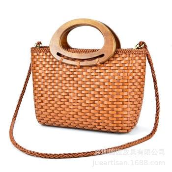 2019 new women's bag Luxury Genuine Leather handbag Hand-woven bag National Wind Design Shoulder Messenger Bag