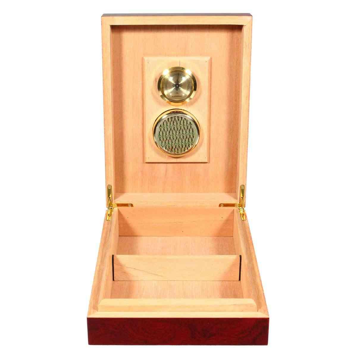 10 杉木製葉巻箱ヒュミドール収納オーガナイザー裏地加湿器湿度計ホルダーギフト Sming シガーアクセサリー