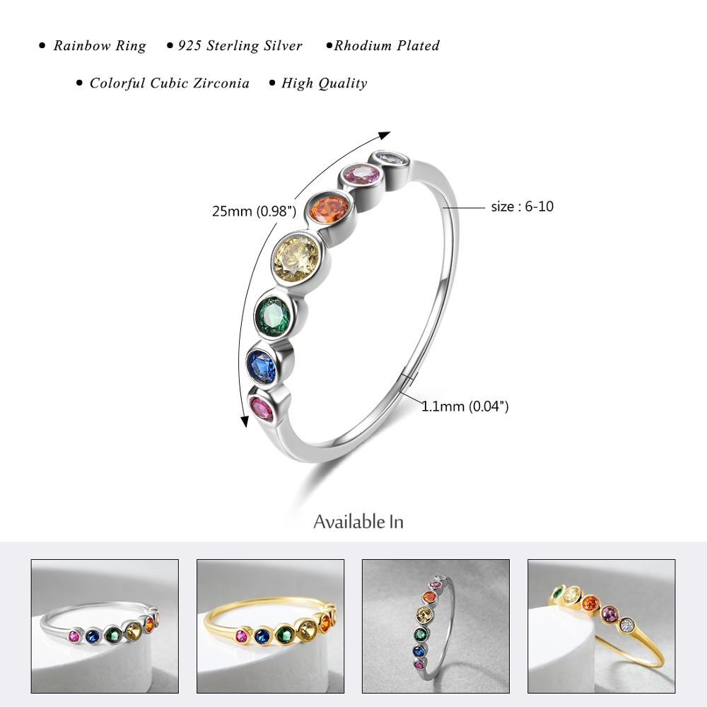 E Jewelry 925 Sterling Silver Rainbow Gemstones Ring for Women Colorful Wedding Engagement Rings for Girls 1
