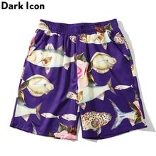 Dark Icon Fish Full Print Street Shorts Men Elastic Waist Summer Beach  Shorts Casual Fashion Men's Shorts girls fish and star print shorts