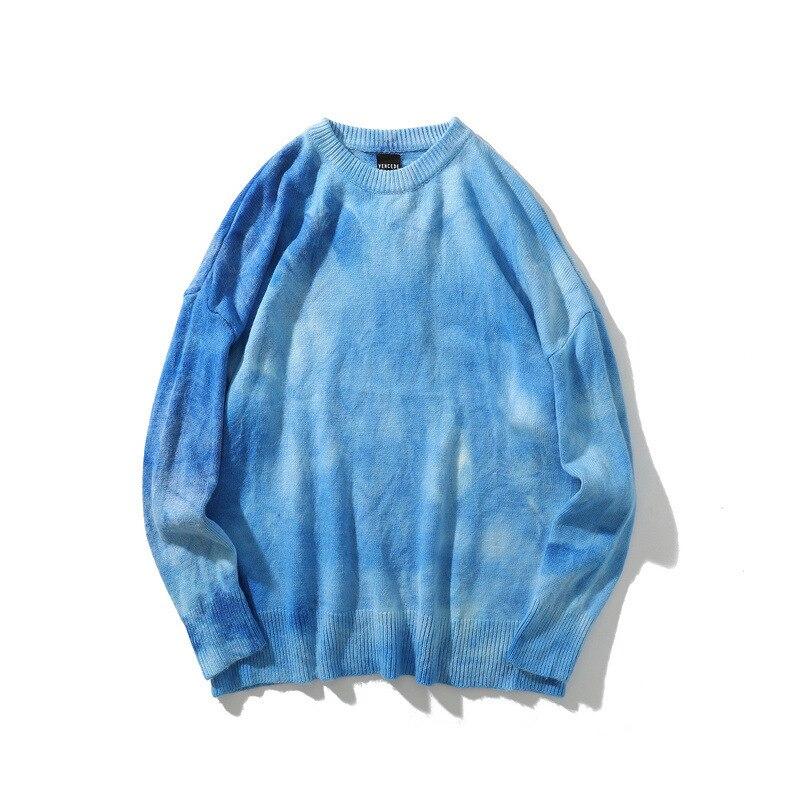 #1518 cravate teinture chandail hommes pull O cou Vintage automne hiver Hip Hop chandail à manches longues rétro Streetwear tricots homme hiver - 3