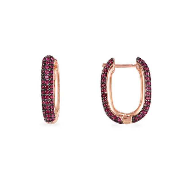 Slzely pendientes rectangulares de circón rojo para mujer, de Plata de Ley 925, Color oro rosa de alta calidad, joyería fina Rock