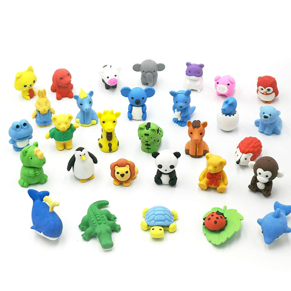 Novelty Fun Erasers School Rubbers Stationery 0-9 Numbers Safari Animals Shape