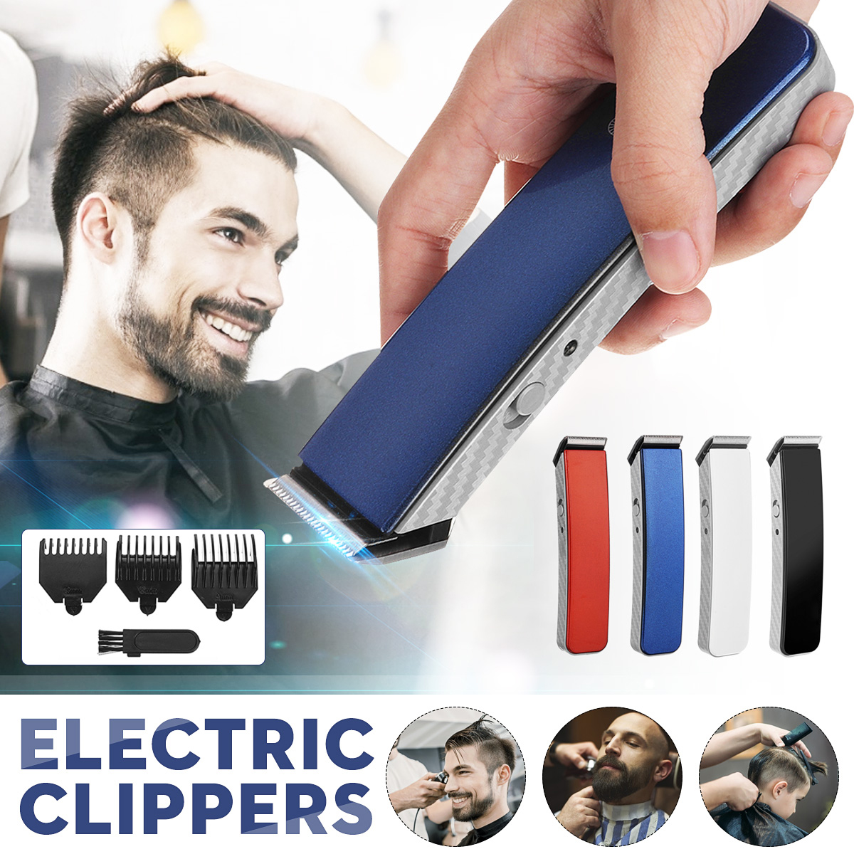 Electric Men's Hair Trimmer with 3 Guide Combs Rechargeable Cordless Hair Clipper Household Men Shaver Razor Beard Haircut